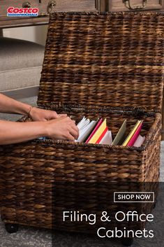 Birdrock Home Rolling File Cabinet Hand-Woven Natural Abaca Fibers Accommodates Letter or Legal Sized Files Wheels for Easy Mobility Hinged Lid Filing Cabinet Organization, Organizing Paperwork, Closet Organization, Office Decor, Home Office, Office Furniture, Rolling File Cabinet, Apartment Makeover, Office Cabinets