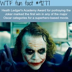 WTF Facts : funny, interesting & weird facts — Heath Ledger as the Joker - WTF fun fact Wtf Fun Facts, Funny Facts, Random Facts, Random Stuff, Joker Facts, Joker And Harley, The Joker, Joker Batman, Psicologia