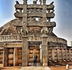 "durjoydatta: ""Reached Bhopal early this morning and visited the stupas at Sanchi.  They are the oldest stone structures in India built and torn down and built again from 3rd century BC to 12th century AD. Sanchi was rediscovered in 1812 and the restoration started after another century. The construction was started Ashoka.  Isn't it a little overwhelming/amazing/creepy/strange to touch the same stones walk the same cobbled paths as people 2000 years ago? Or is it just me? I'm sure it's not…"