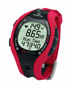 Sigma RC1209 Running Computer Heart Rate Monitor, Red/Black. Digitally coded transmission, current, average, max speed, (or pace), distance, current, average, max HR, training mode with 1 programmable training zone, calorie counter, back light, memory chip to save settings when changing batteries. ECG Precise. Also includes hip clip for use without HR functions. Digitally Coded. Water proof. Includes hip clip.