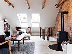 Find images and videos about interior and decor on We Heart It - the app to get lost in what you love. Attic Rooms, Attic Spaces, Interior Architecture, Interior And Exterior, Interior Design, Brick And Wood, Brick Wall, Wood Beams, Appartement Design