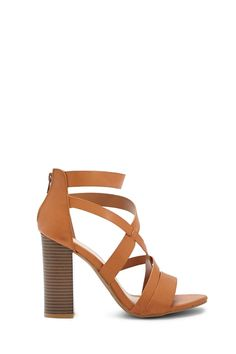 Strappy Faux Leather Block Heels Stiletto Heels 825c5f4e768