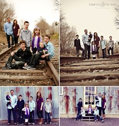 Photography family luggage On Railroad Tracks  | rustic family portrait, train tracks, warehouse, ... | family photos