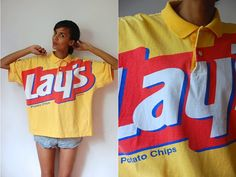 Vtg 1993 Lays Potato Chips XL SS Polo Shirt by LuluTresors on Etsy, $19.99 Lays Potato Chips, Polo Shirt Colors, Red White Blue, Etsy Shop, Fitness, Model, Sleeves, Cotton, Shirts
