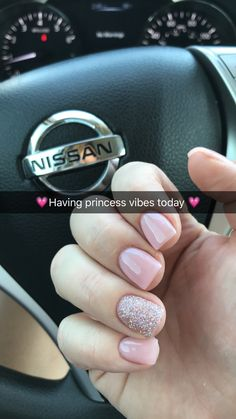 Princess pink glitter nails short acrylic