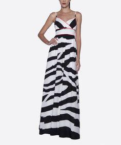Look what I found on #zulily! Black & White Stripe Surplice Maxi Dress by Elfe #zulilyfinds