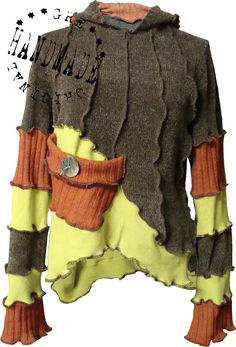 SWEATER size M/L Made from recycled sweaters, reuse, recycle, upcycle - brown, lime green