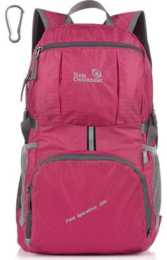 1ceefa854241 Outlander Packable Lightweight Travel Hiking Backpack Daypack (New  Fuschia). Water-