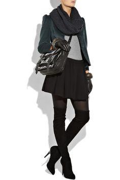 Winter, infinity scarf, velvet blazer, pleated mini skirt, over the knee boot, mini skirt and tights, fall, work