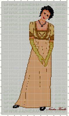 0 point de croix vintage lady in dress - cross stitch femme en robe vintage