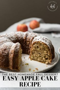 Make your kitchen smell like fall with this easy and flavorful Apple Bundt Cake recipe. #AppleCakeRecipe #AppleBundtCake #LifeisbutaDish Apple Bundt Cake Recipes, Easy Apple Cake, Dessert Cake Recipes, Easy Cake Recipes, Apple Recipes, Sweet Recipes, Different Kinds Of Cakes, Cupcake Cakes, Cupcakes