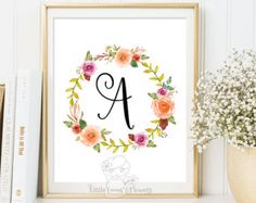 Nursery Letter Monogram Art printable flower by LittleEmmasFlowers