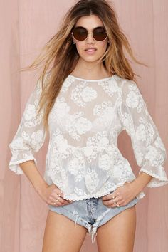 Line & Dot Infinite Embroidered Blouse | Shop Clothes at Nasty Gal