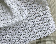White crochet christening baptism baby blanket with fancy edge Crochet Stitches Patterns, Stitch Patterns, Baby Girl Blankets, Newborn Gifts, Christening, Baby Knitting, Etsy, Baby Shower, Fillet Crochet
