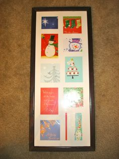 Christmas Decorations - Cut old Christmas cards and put in a collage frame