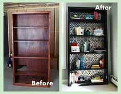 Revamp your bookcase with Heart Maine Home: Office bookcase {before and after} r. - Home Decor -DIY - IKEA- Before After Diy Furniture Restoration, Refurbished Furniture, Home Office Furniture, Repurposed Furniture, Furniture Projects, Furniture Makeover, Home Projects, Refurbished Bookcase, Furniture Plans