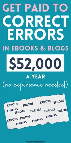 Are you good at spotting grammatical errors? Learn how you can work from home proofreading blogs, e-books, etc. Check out the free workshop to see if it's for you #sidehustle #proofreading #makemoneyonline #makemoneyathome Legit Work From Home, Work From Home Tips, Online Jobs From Home, Online Work, Earn Money From Home, Way To Make Money, Money Today, Virtual Jobs, Job Info