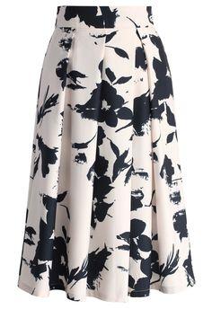 Brosser des Fleurs Jupe Mi-longue Plissée - Skirt - Bottoms - Retro, Indie and Unique Fashion