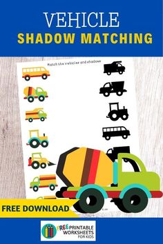 Visual discrimination is an essential skill for differentiating letters and numbers. Preschoolers will love this vehicle themed shadow matching game which develops this skill. Fun Vehicle Printables for Preschool and Kindergarten Free Preschool, Preschool Learning, Toddler Activities, Learning Activities, Preschool Activities, Construction Theme Preschool, Worksheets For Kids, Printable Worksheets, Free Printable
