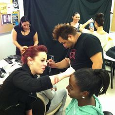 Backstage make-up artistry by Bellus Academy students #makeup #beauty #fashionshow