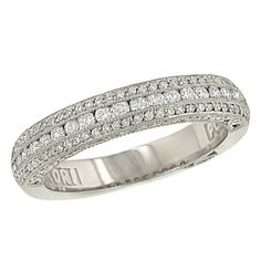 Tacori Crescent Collection 3 Row Round Channel and Pave Set Diamond Wedding Band Diamond .53cttw