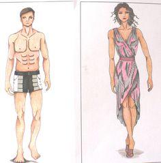 Colección inspirada en el perfume I Loewe you Tonight. Traje de baño masculino, ropa playera femenina. Diseños propios. Estos los confeccioné para el desfilé by Elvi Ramos de Ruiz
