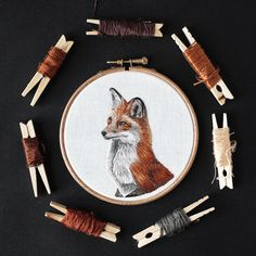 Emillie Ferris creates hand-embroidered hoop art starring a myriad of creatures. From foxes to bees, she stitches them in majestic, realistic portraits. Portrait Embroidery, Embroidery Needles, Modern Embroidery, Hand Embroidery Designs, Cross Stitch Embroidery, Embroidery Patterns, Textiles, Thread Painting, Needlework