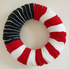 """American Flag Felt Wreath // Red, White, and Blue // 12.5"""" by modcheek on Etsy"""