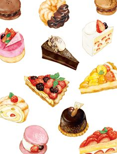 Looking at shapes and forms as the basis for pastry art Desserts Drawing, Dessert Illustration, Watercolor Food, Pastry Art, Food Painting, Food Drawing, Food Illustrations, Cute Food, Food Design