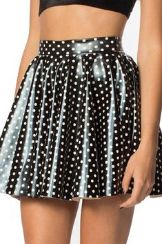 Polka Party Cheerleader Skirt - LIMITED – Black Milk Clothing Skirt is polyester, any zip? may be stretch fabric with wetlook print Pvc Skirt, Latex Skirt, Dress Skirt, Rock Outfits, Skirt Outfits, Sexy Outfits, Cheerleader Skirt, Vinyl Dress, Leather Bustier