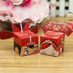 Asian Style Beijing Opera Couple Favor Boxes - Set of 6 Pairs – CAD $ 2.25 @icedmango I know you're looking for clear macaron boxes...but if you got these you could put them beside the red silk that the guests will sign :P