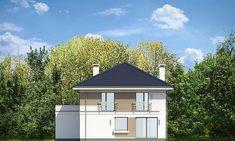 Elewacja tylna projektu Tytan 4 Morden House, New Builds, Home Fashion, Exterior Design, Townhouse, Gazebo, House Plans, Shed, New Homes