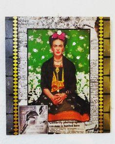 """Cuadro """"Bella Frida"""".Collage con material reciclado. (GloriArte143). Vendido /Sold out"""