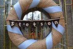 burlap and ribbon wreath for barn door
