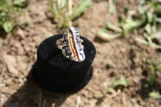enamel sterling silver ring, wall // blue, orange, white // special design