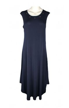 NAYA NAVY METAL DISC LYRCA LONG DRESS