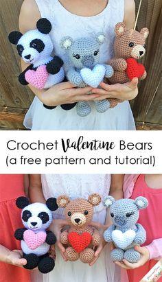 Crochet Amigurumi Animal Crochet Valentine Bear, Panda and Koala Pattern - Grace and Yarn ~ Crochet Panda, Cute Crochet, Crochet Animals, Crochet Crafts, Crochet Dolls, Easy Crochet, Crochet Projects, Crochet Birds, Crocheted Toys