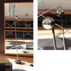 FALLING STAR FLOOR.  Das Leuchtenprogramm FALLING STAR steht für Leichtigkeit und spielerischen Umgang mit Licht. Die kugelförmigen Leuchtenköpfe in glänzendem oder schwarzem Chrom werden kombiniert mit verschieden farbigen Kabeln und Zubehör zu einem aktuellen und modisch wirkenden Produkt. Das Programm besteht aus Pendel-, Wand-, Decken- und Stehleuchten und bildet in Ergänzung zu der Tischleuchte FALLING IN LOVE eine komplette Produktfamilie.
