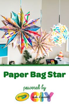 DIY Paper Bag Star Hanging star decorations are now a colorful upcycled craft! Decorate leftover brown paper bags, then transform them into a DIY Paper Star. Diy Paper Bag, Paper Bag Crafts, Upcycled Crafts, Diy Crafts, Crayola Crafts, Montessori, Small Paper Bags, Star Diy, Baby Mobile