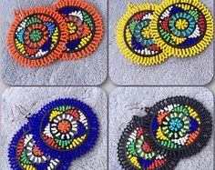 Zulu beaded round earrings