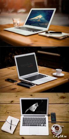Ноутбук на деревянном столе - макет для фотошопа. 3 Macbook Air with Prespective Mockup Screen