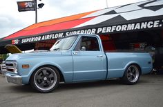 """Randy Johnson's gorgeous '68 Chevy C10 """"Shop Truck"""" is powered by a 525HP LS3 with Holley Terminator EFI and rides on Heidts suspension, RideTech coilovers, Wilwood disc brakes, and Nitto NT555 G2 tires on 20x9.5 & 20x10 Forgeline Heritage Series CR3 wheels finished with Matte Graphite centers, Polished outers, & Tall Center Caps! See more: http://www.forgeline.com/customer_gallery_view.php?cvk=1705  #Forgeline #HeritageSeries #CR3 #notjustanotherprettywheel #madeinUSA #Chevrolet #Chevy #C10"""