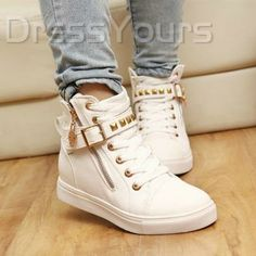 New Arrival Korean Style Zipper Riveted Comfortable Shoes