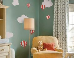 This wall decal is about some hot-air balloons flying over the sky. It is a kind of nursery wall decal in lovely cartoon style.You may apply this children wall decal in your nursery room to bring some fun, and your kids will definitely love it so much.SIZE & PRICE:Siz