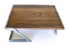 Reynolds Coffee Table rustic reclaimed barn wooden table with welded metal legs handmade