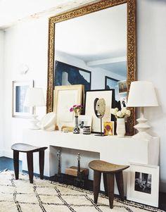 Espejo dorado  con relieve ...
