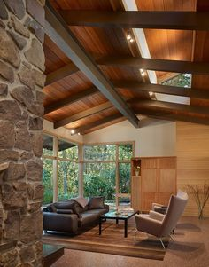 The Lake Forest Park House Interior - a renovation to a Northwest Contemporary house on a secluded, wooded site about 25 miles north of Seattle, Mid Century Modern Living Room, Mid Century House, Interior Architecture, Interior And Exterior, Interior Design, Organic Architecture, Room Interior, Stone Interior, Pavilion Architecture