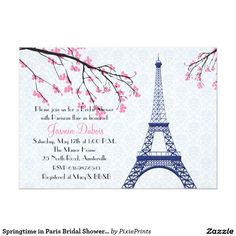 Springtime in Paris Bridal Shower Invitation A romantic invitation featuring the Eiffel Tower and blooming pink branches against a light gray damask background. Suitable for a birthday party or any feminine celebration, luncheon or bridal shower. The card is easy to customize with your wording, font, font color and choice of six paper types. Not exactly what you're looking for?