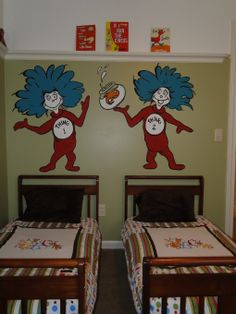 Thing 1 & Thing 2! Hahaha I don't have twins, nor do I wish them on myself, but this is an adorable idea!! Credit to all those parents of multiples, one as of right is enough for me!