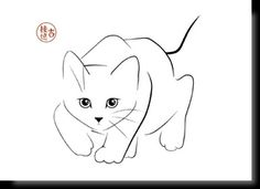 Cat line drawing - stalking - Lots of cat sketches here Animal Sketches, Art Drawings Sketches, Animal Drawings, Cat Drawing, Line Drawing, Cat Sketch, Cat Quilt, Cat Crafts, Cat Tattoo